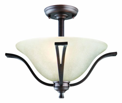 Design House 517631 Ironwood 2 Light Semi Flush Mount Ceiling Light, Brushed Bronze