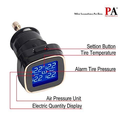 PA TPMS Tire Pressure Monitoring System Cigarette Lighter Plug +4 Internal Sensors