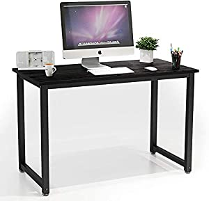 "HATON Computer Desk, 47.2"" Simple Modern Style Wood Computer Table Writing Gaming Desk with Sturdy Metal Frame for Home Office Study, Easy Assembly - Black"