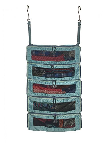 Luggage Organizer Packing Cubes – Collapsible Suitcase Backpack & Carry-On Bag Travel Accessories – Hanging Shelves feature YKK Zippers & Mesh Windows – Large Portable Closet System for Clothes – Teal
