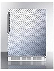 Summit FF7LBIDPLADA Refrigerator, Silver With Diamond Plate