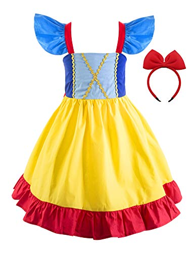 Princess Cinderella Rapunzel Little Mermaid Dress Costume for Baby Toddler Girl (2T, Snow White A)