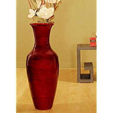 GreenFloralCrafts 27 in.Classic Bamboo Floor Vase (Floral Not included)- DARK RED