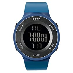 TEZER Digital Watch Outdoor Electronic LED Large Face Military Light Black Stopwatch Alarm Men's Wristwatch 90003 (Navy Blue)