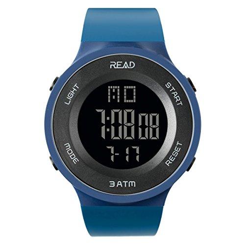 TEZER Digital Watch Outdoor Electronic Ultra Thin LED Large Face Military Light Black Stopwatch Alarm Men's Wristwatch 90003 (Navy Blue)