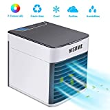 BASEIN Portable Air Cooler, 3 in 1 Personal Evaporative Air Conditioner Mini Space Cooler, Humidifier, Purifier with 3 Speed, 7-Color LED Lights, USB Charging, Mini Desktop Cooling Fan for Offices