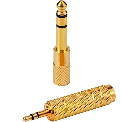 eBoot 2 Pack Headphone Adapter 6.35 mm (1/4 Inch) Male to 3.5 mm Female Stereo Adapter Plus 3.5 mm Stereo Male to 6.35 mm (1/4 Inch) Stereo Female, Gold Plated