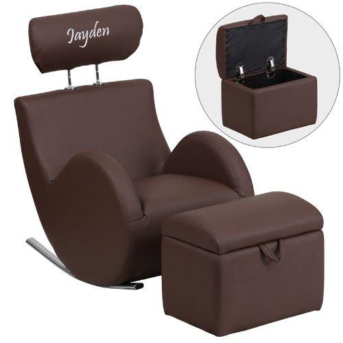 Flash LD-2025-BN-V-EMB-GG Emb Brown Vyl Rocker-Storage Chrome Base Chair