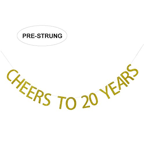 Gold Glitter Cheers to 20 Years Banner - 20th Birthday Party Decorations - 20th Wedding Anniversary Decorations - NO ASSEMBLY REQUIRED -