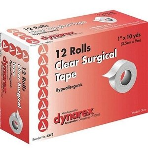 Dynarex 3572 Surgical Tape Transparent 1''x10 Yds 12/12/Case by Dynarex