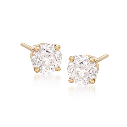 Ross-Simons 2.00 ct. t.w. CZ Stud Earrings in 14kt Yellow Gold 2ct Tw Stud Earrings