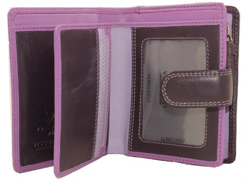 Visconti RB40 Multi Colored Small Soft Leather Ladies Wallet & Purse (Lilac Multi)