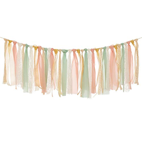 Ling's moment Fabric Lace Tassel Garland Fabric Banner for Rustic Wedding Backdrop Party Decor Baby Shower Shabby Chic Blush and Mint Banner 4FT