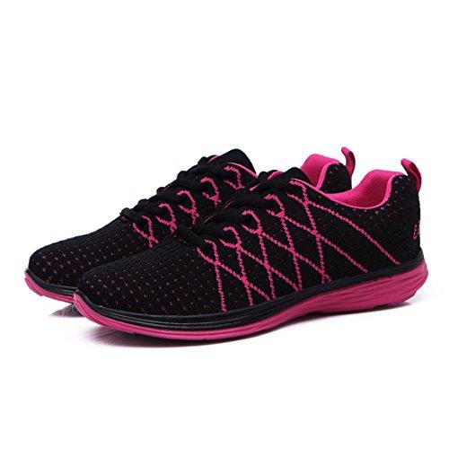 Yiblbox Kvinnor Tillfällig Lätt Andas Sneakers Atletisk Löparskor Promenadskor Svart