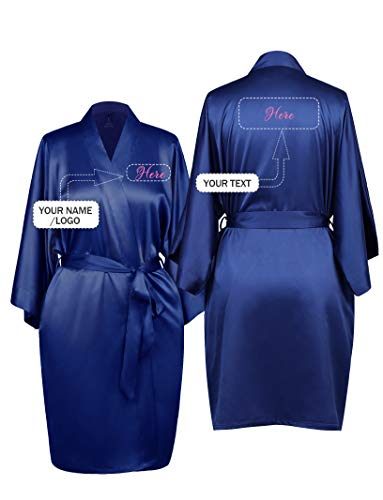 AW Personalized Embroidered Luxurious Silky Satin Kimono Robe for Women Bride Bridesmaid Gift, Navy, S