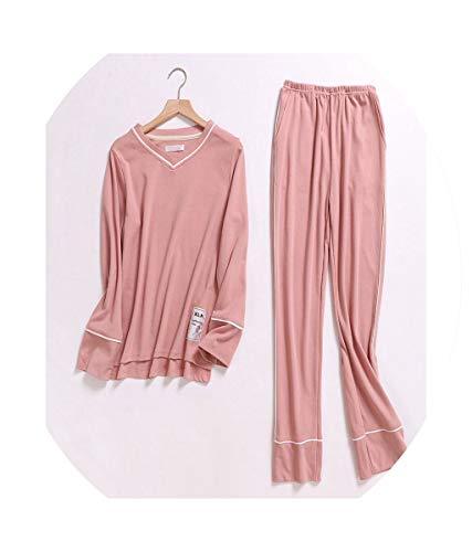 Pajamas Sets Women 100% Knit Cotton Long Sleeve Korea Pijamas Sleepwear Pyjamas Feminino Lounge wear,Pink 1,M