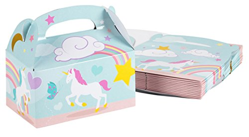 Treat Boxes - 24-Pack Paper Party Favor Boxes, Unicorn Design Goodie Boxes for Birthdays and Events, 2 Dozen Party Gable Boxes, 6 x 3.3 x 3.6 Inches]()
