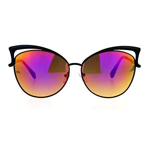 SA106 Womens mirrored Mirror Lens Metal Cat Eye Diva Retro Sunglasses Black - Diva Glasses