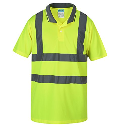 SHORFUNE Reflective Polo Shirt Safety Quick Dry High Visibility Short Sleeve FGST-002-Y-XXL