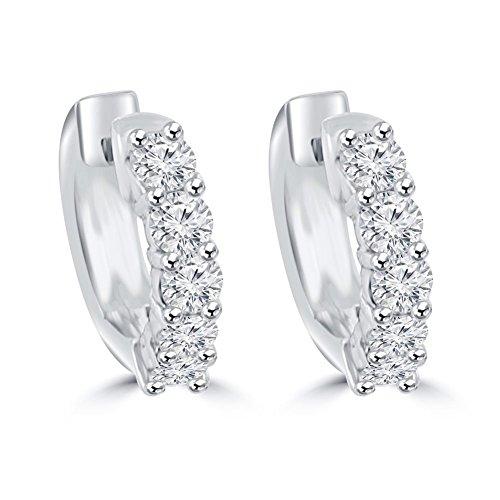 1.40 ct Ladies Round Cut Diamond Huggie Earrings In 14 Kt White Gold