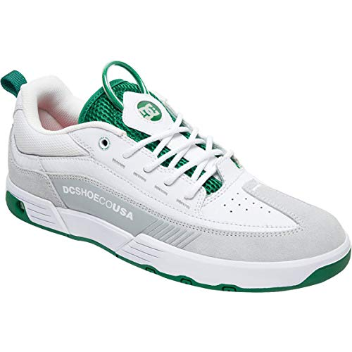Legacy Leather - DC Legacy 98 Slim S (White/White/Green) Men's Skate Shoes-10