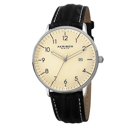 Akribos XXIV Men's AK715WT Retro Swiss Quartz Cream Dial Stainless Steel Black Leather Strap Watch