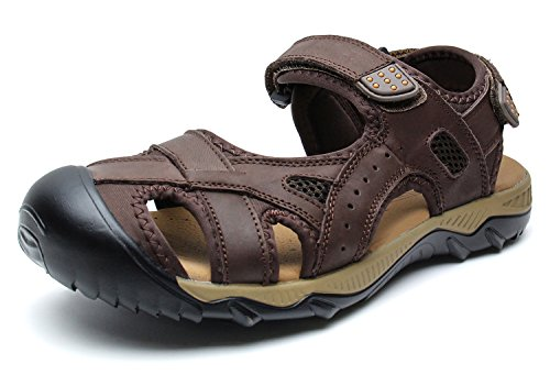 6829185e0 YoCool Men s Fisherman Sandals Leather Closed Toe Athletic Sport Casual  Beach Water Sandal Brown 2618 SZ-46