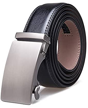 "Men's Belt,Wetoper Slide Ratchet Belt for Men with Genuine Leather 1 3/8,Trim to Fit (Up to 44"" waist adjustable, A0308)"