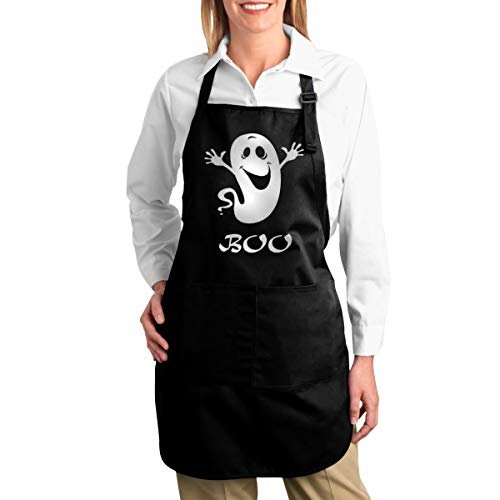 - OURFASHION Apron Halloween Boo Ghost Wallpaper Adjustable Bib Apron with Pockets for Women and Men Home Kitchen Garden Restaurant Cafe Bar Pub Bakery