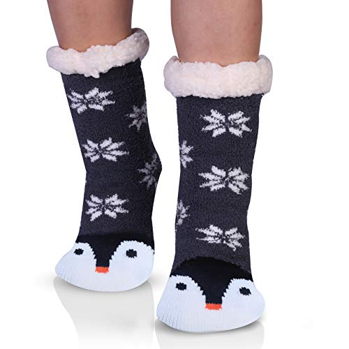 - Penguins Cozy Fuzzy Slipper Socks with Grippers for Women Cute Animal Gifts