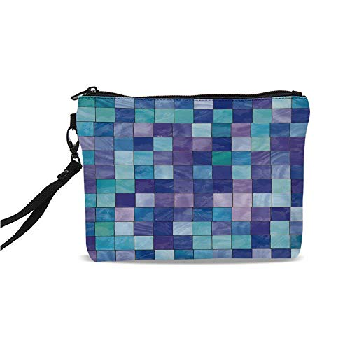 Navy and Teal Simple Cosmetic Bag,Stained Glass Inspired Design Checkered Pattern Dreamy Fantasy Colors Shades Decorative for Women,9