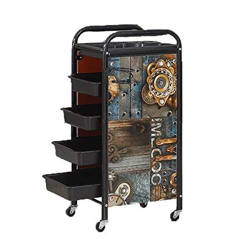 DANTB 5 Tier Salon Cart Rolling Storage Trolley Golden Hairdressers Tool Metal Frame with Rolling Wheels Spa Hair Stylist Beauty Barber,Retrocart1