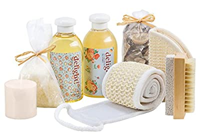 Bath Gift Set for Women Massage & Reflexology Spa Kit Beauty Basket Floral Delight Aromatherapy Scent, Bath and Shower Set Includes Shower Gel, Bubble Bath, Bath Salt, More Bath and Body Gift Basket