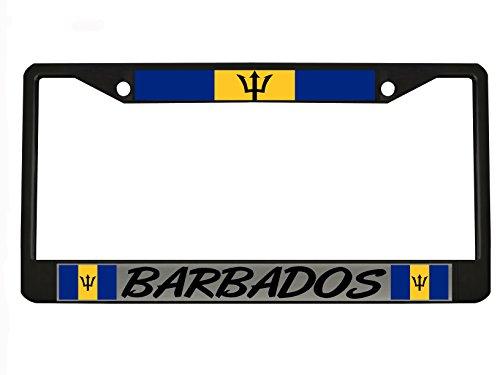 BARBADOS black Metal Auto License Plate Frame Car Tag Holder