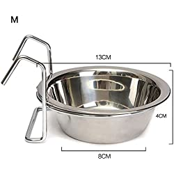 Cibeat cat Bowls, Stainless Steel Hang-on Bowl Pet Dog Cat Crate Cage Food Water