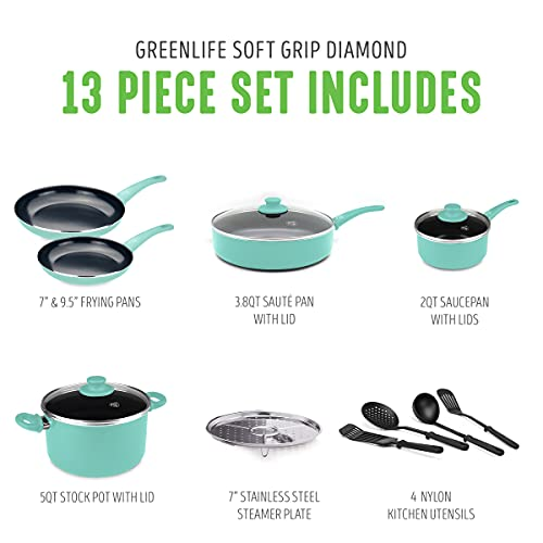 GreenLife Soft Grip Diamond Cookware Pots and Pans Set, 13 Piece, Turquoise