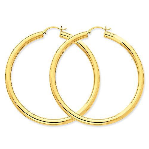 MCS Jewelry 14 Karat Yellow OR White Gold Classic Hoop Earrings (Diameter: 40 mm) (yellow-gold) Napier Twisted Bracelet