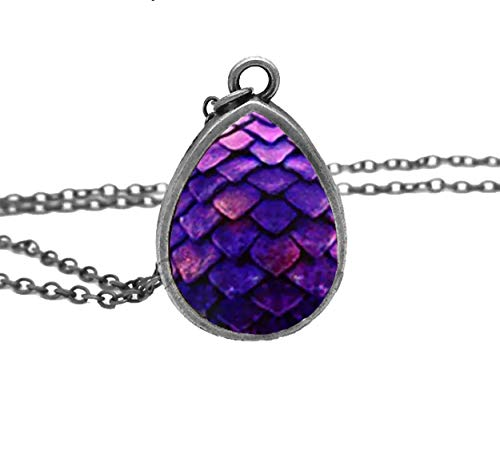 Adorability Dragon Egg Scale Necklace for Women Girls Mens Colorful 3D Eggs Shape Unisex Pendant Hypoallergenic Dark Purple