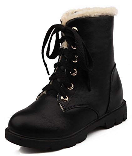 IDIFU Women's Warm Fleece Lined Ankle High Snow Boots Lace Up Winter Martin Booties Low Heels Black 6.5 B(M) US (Combat Boots For Teens)