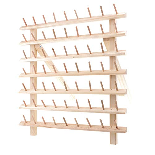 63 Spools Wood Tailor Rack Stand Sewing Thread Organizer Storage Holder