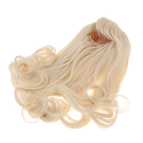SM SunniMix Trendy Doll Long Wavy Wig Hair with Bang for 16inch Salon Doll Dress Up Light Golden ()