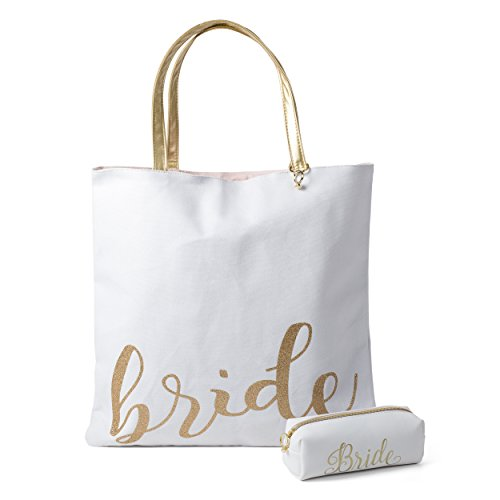 Bride Canvas Tote Bag: Large Reusable Cloth Fabric Shoulder Bags with Handles for Women – Reversible Purse Totes for Bridal Party with Mini Bride Cosmetic Bag Included