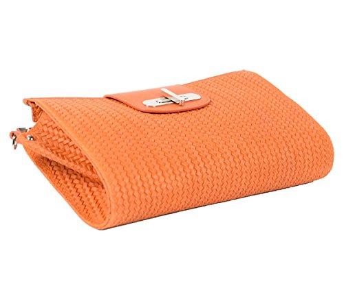122737b30b23b ... Designer Italienische Tasche Leder Handbag geflochtene Look  Echtledertasche Handtasche Schultertasche Clutch Umhängetasche Borsetta  Pochette Orange Gelb ...