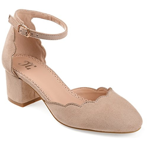 - Journee Collection Womens Scalloped Ankle Strap Pumps Taupe, 7 Regular US