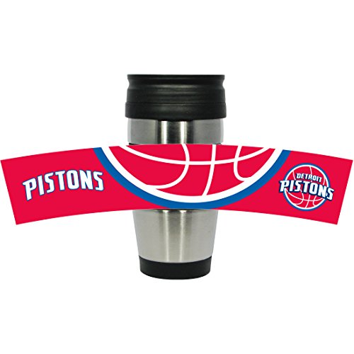 Stainless Steel Travel Tumbler with 3D Logo Wrap, 15-Ounce, Silver (Detroit Pistons Logo Coffee Mug)
