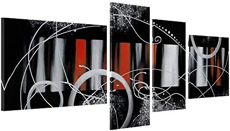 Gold Orange 100 Hand-Painted Red Back Clouds Home Decoration Modern Abstract Oil Painting on Canvas 5pcs Set Modern Abstract Painting Canvas Living Room Bedroom Office Wall Art Home Decoration