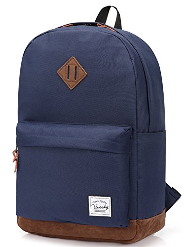 Vaschy School Backpacks for Adults Classic Lightweight Water Resistant Campus Rucksack Travel Backpack Blue Fits 15.6 Inch Laptop