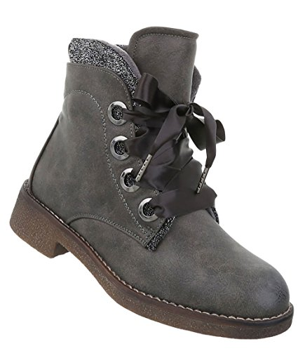 Damen Schuhe Stiefeletten Used Optik Boots Grau