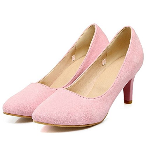 TAOFFEN Women Fashion Solid Pink Pumps Office Stiletto HprHwxPqFS