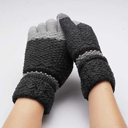 1 Pc (1 Pair) Women Knitting Winter Glove Color Dark Grey Full Fingers Mittens Unisex Mens Womens Girls Toddler Rousing Fashionable Extreme Gym Football Work Hand Wrist Straps Dryer Touch Gloves